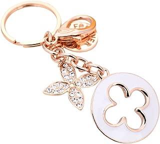 Modogirl Charms Four Leaf Clover KeyChain Women Key Ring Rose Gold Plated Swarovski Crystal Elements