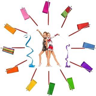 Binen 12 Pieces Dance Ribbons Streamers Rhythmic Gymnastics Ribbon Wands Rods Baton Twirling for Kids Artistic, Dancing