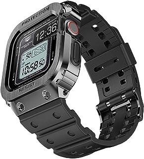 amBand Sport Militar Correa Compatible con Apple Watch 44mm, Ajustable Correa de Repuesto con Funda Compatible con iWatch ...