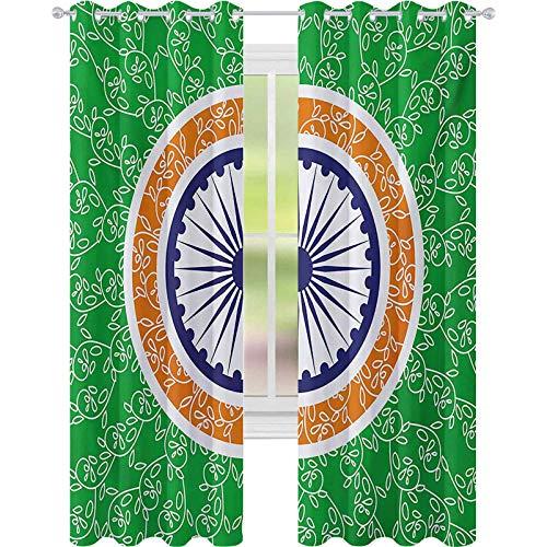 Cortinas opacas para ventana, diseño de Día de la Independencia, con rueda giratoria de rayos, 52 x 108, cortinas opacas para habitación de niños, multicolor