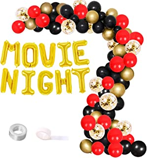 Movie Night Balloon Garland Arch Kit for Hollywood Oscar Themed Event, Movie Theatre Time Party Decorations