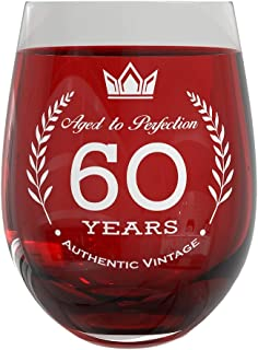 60th Birthday Wine Glass | Party Decorations for Anniversary & Fancy Celebration | 20oz Stemless Vintage Glass for Men & Women | Sturdy Glassware with Elegant 60 Years Aged to Perfection Design