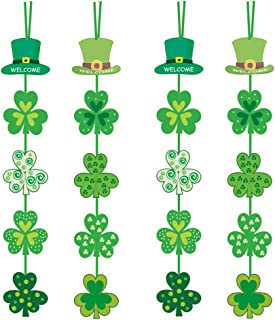 St Patricks Day Hanging Decorations Ornament-Lucky Irish Party Day Porch Sign Shamrock Clover,St Patricks Day Shamrocks Door Hanger for Home Outdoor Indoor Party Favor Ornament
