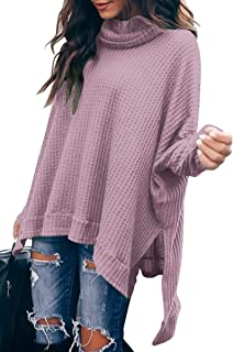 Caracilia Women Turtle Cowl Neck Long Batwing Sleeve Waffle Knit Pullover Sweaters Oversized Loose Fit High Low Tunic Tops