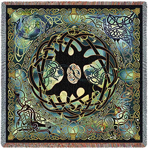 Celtic Tree of Life - Jen Delyth - Lap Square Blanket Throw Woven from Cotton - Made in The USA (54x54)