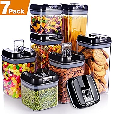 "Senbowe [7-Piece] Air-Tight Food Storage Container Set with Durable Plastic,BPA Free,Clear Containers,Stackable Design, for Organizing Kitchen Space - Upgrade Black Lids (3.8×3.8"")"