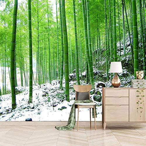 Msrahves papel pintado pared dormitorio Verde bosque de bambú nieve Pared Mural Foto Papel Pintado Pared Mural Vivero Sofá Tv Pared De Fondo Decoración de Pared decorativos hotel fondo de TV