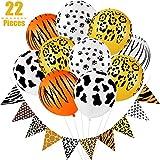 22 Stück Dschungel Safari Party Dekoration Set inklusiv 2 Stück Dschungel Safari Leopardenmuster Flaggen Banner und 20 Stück Safari Tier Latex Ballon für Geburtstag Tier Motiven Party Dekorationen