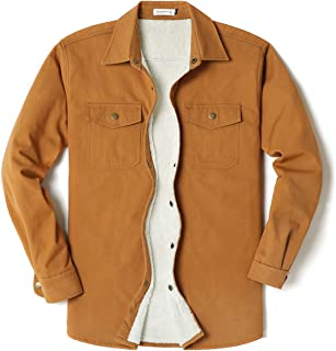 Mens Long Sleeve Thick Corduroy Canvas Shirt Button Down Jackets
