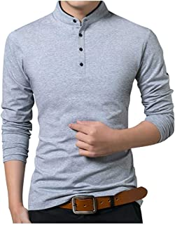 Men Solid Long Sleeve Shirt Tops, Male Stand Collar Fashion Button T-shirt Blouse Top