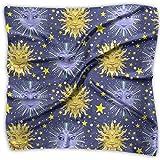 Square Satin Scarf Sun Moon And Stars Celestial Silk Like Lightweight Bandanas Head Wrap Neck Shawl Headscarf