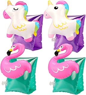 Tacobear 2 Pares Natación Brazaletes Niños Flotador Natación Brazaletes Hinchables Manguitos 3D para niños 3-6 años Aprender a Nadar Actividades de Playa Piscina (Flamenco y Unicornio)