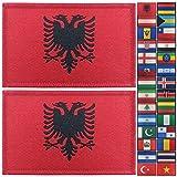 JBCD 2 Pack Albanien Flag Patch Albanische Flaggen Tactical Patch Pride Flag Klettverschluss Patch für Kleidung Hut Patch Team Military Patch