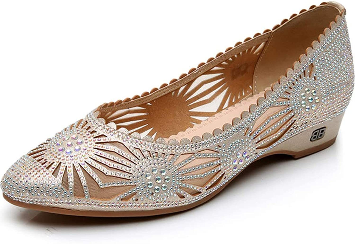 LANSEL Single shoes Spring and Summer Women's shoes Flat with Hollow Mesh Korean Version of The Wild Flat Shallow Mouth shoes
