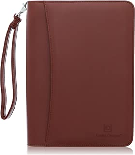 Zippered Business Padfolio with Junior Legal Notepad – Light Brown PU Leather..