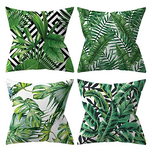 BCKAKQA Throw Pillow Case 18 x 18 inch Green Leaves Cushion Covers 45 x 45 cm Set of 4 Soft Polyester Square Decorative Throw Pillow Covers for Living Room Sofa Couch Bed Pillowcases