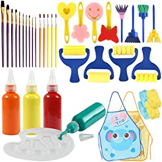 BigOtters Painting Tool Kit, 34PCS Kids Washable Paint Brushes Set Finger Paints Sponges Supply for School Prizes Art Party Gift