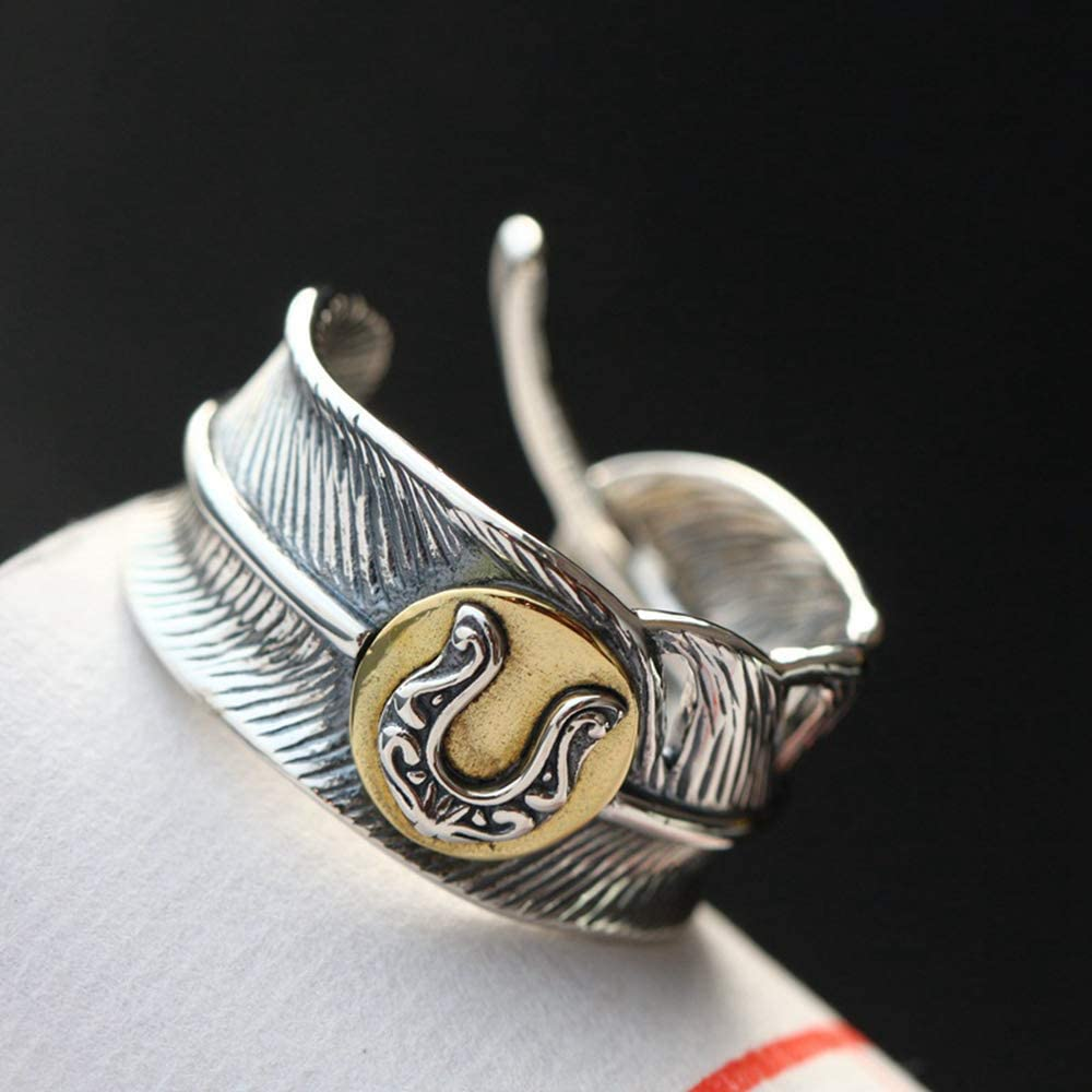 Wangsumei Limited New item time for free shipping Men's Opening 925 Sterling Silver Vintage Feather Ring