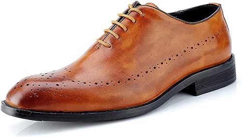 Herren Business Oxford Casual Echtes Leder British Style Carving Gürtel Brogue Schuhe. Leather schuhe (Farbe   Hellbraun, Größe   43 EU)