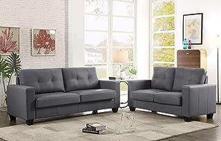 GTU Furniture 2Pc Contemporary Grey Pu-Leather Sofa & Loveseat Set