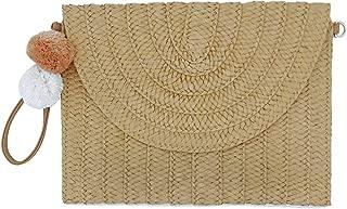 Large Straw Clutch Handbags with Wristlet Strap Envelope Purse Summer Beach Bag