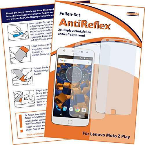 mumbi Schutzfolie kompatibel mit Lenovo Moto Z Play Folie matt, Bildschirmschutzfolie (2X)