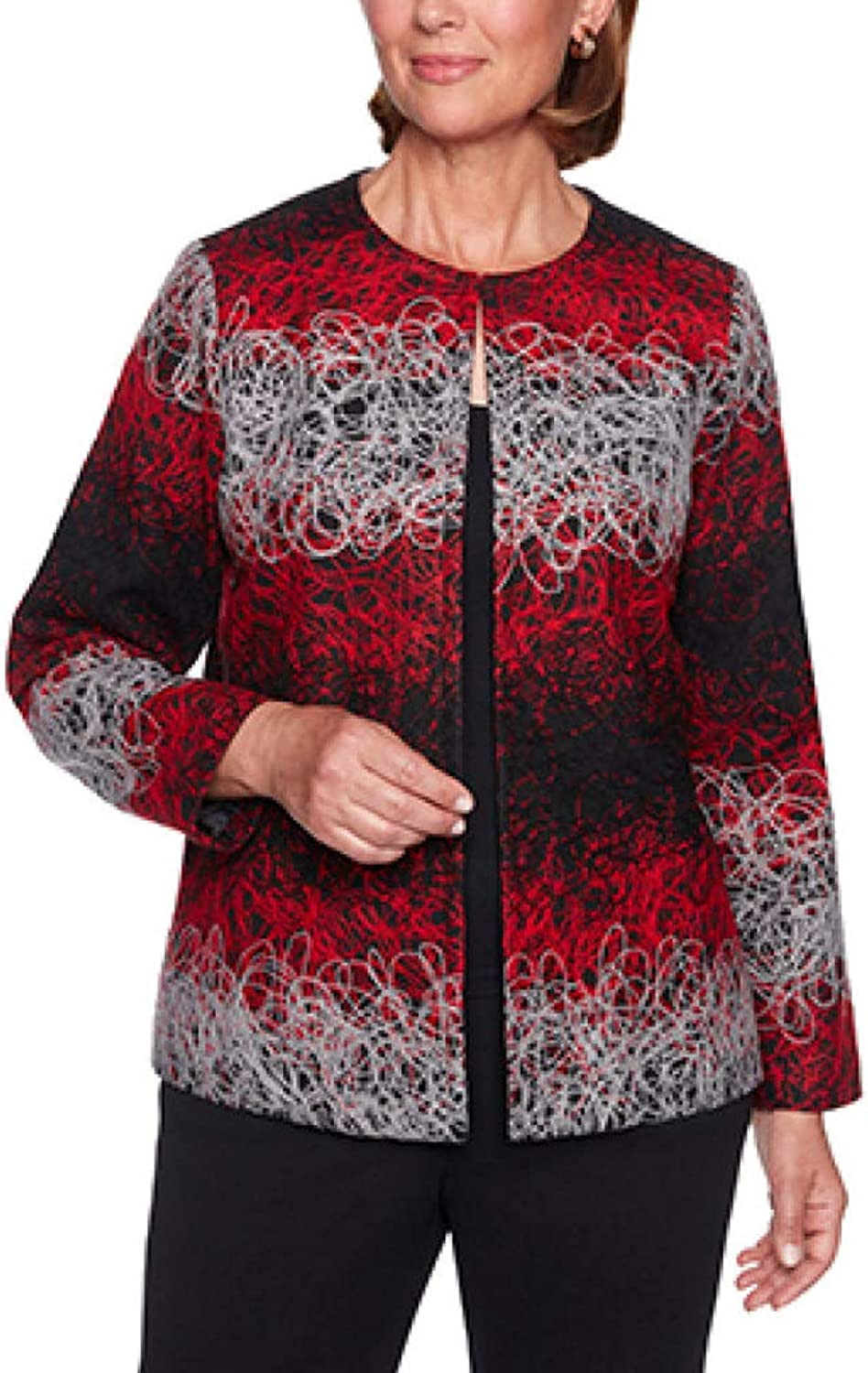Alfred Dunner Womens Petite Cardigan Jacket with Jacquard Print Blazer