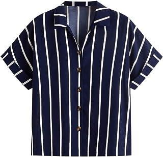 Allywit S-4XL Women Leisure Work Stripe Button Blouse Loose Tops Short Sleeve Shirt