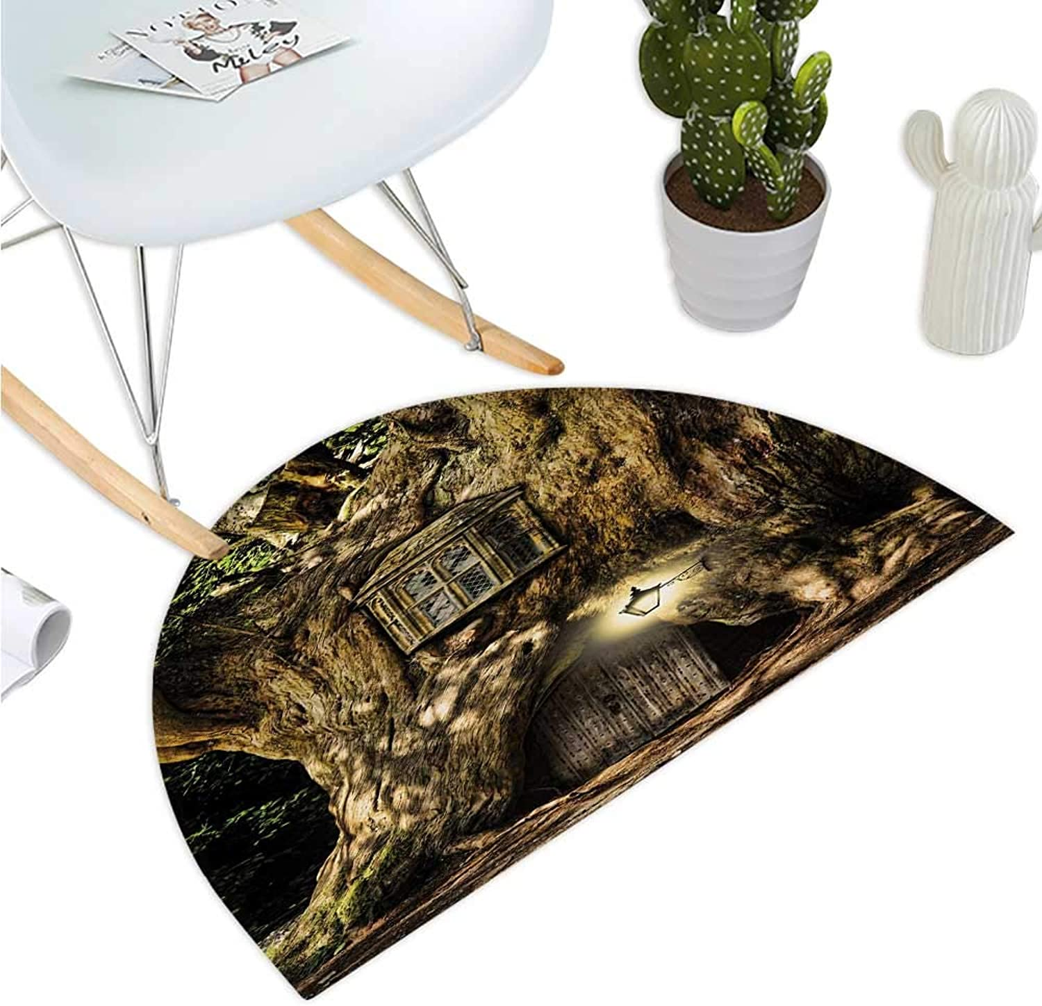 Fantasy Semicircular Cushion Fairytale House in Tree Trunk in Forest with Lanterns Folk Stories Themed Design Entry Door Mat H 43.3  xD 64.9  Umber Brown