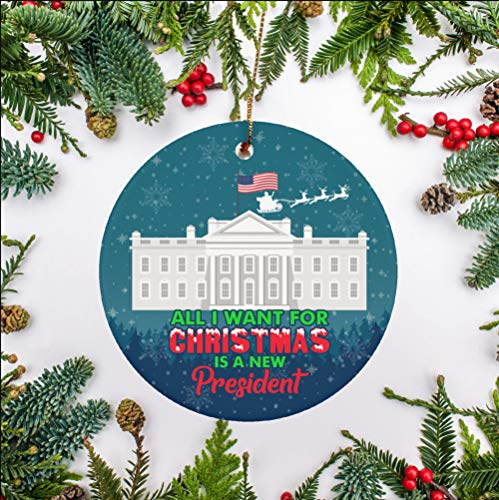 GearBubble All I Want for Christmas is A New President Decorative Christmas Ornament, 3 Inch Mica Plastic Holiday Flat Circle Ornament Gift (Pack 2)