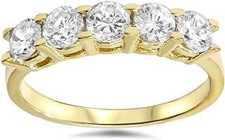 1 1/4ct Diamond Wedding 14k Yellow Gold Anniversary Ring 5-Stone High Polished