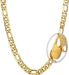 98b5e791b4845 PROSTEEL Bijoux Collier Homme Personnalisé Chaîne Maille Figaro 1+3 Chain  Necklace en Acier INOX