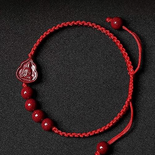 Pulseras con cuentas de piedras preciosas premium Lucky Red Rope Cinnabar Pulsera de CINNABAR CONSECRADA ORE PURPLE CINNABAR TALLADO BUDDHA Pulsera trenzada de cuerda roja y negra para hombres y mujer
