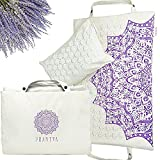 Accupressure Body Mat & Acupuncture Mat Pillow with Lavender Aromatherapy - Acupressure Mat and Pillow Set for Back Pain, Reflexology, and Stress Relief by Praniva - Organic Linen Pressure Point Mat