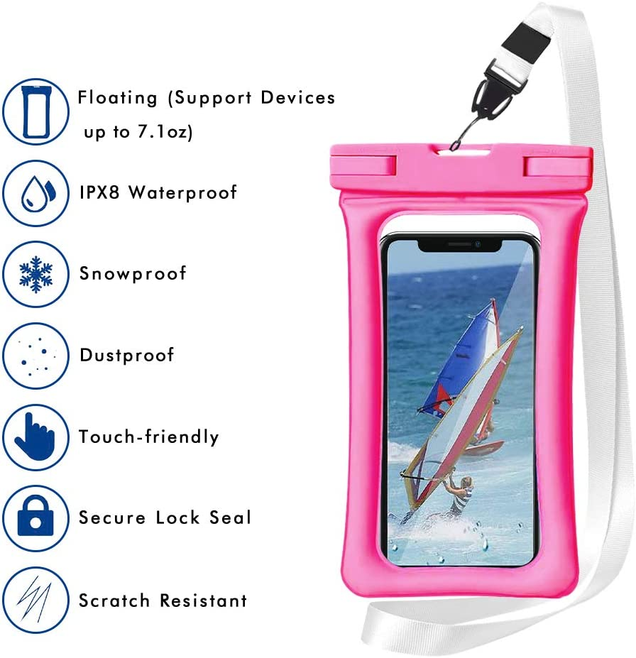Waterproof Phone Pouch Floating,IPX8 Universal Waterproof Case,Homearda TPU Clear Dry Bag Compatible for iPhone Xs Max/Xr/X/8/8plus/7/7plus6/6s Galaxy Note Google Pixel up to 6.5