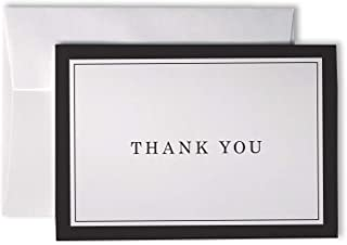 Formal Striped Thick Border Thank You Cards - 48 Cards & Envelopes (Black)