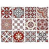 Planche de 12 Stickers Carrelage - Carreaux de Ciment - Redmonky - Dimensions d'un Sticker : 10 x 10 cm