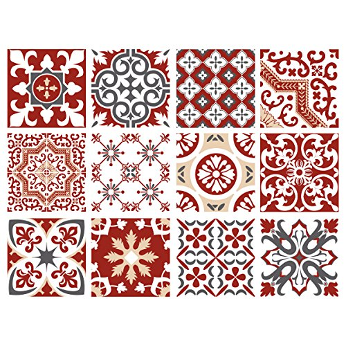 Planche de 12 Stickers Carrelage - Carreaux de Ciment - Redmonky - Dimensions d'un Sticker : 20 x 20 cm