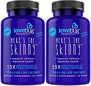 Probiotic and Prebiotic Digestive Health Supplement, Shelf Stable - with 10 Billion CFU, Turmeric - for Men & Women, 15x More Survivability, 60 Tablets.
