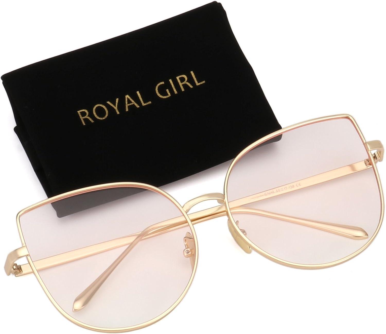ROYAL GIRL Cat Eye Retro Sunglasses For Women Metal Frames Oversized Clear Lens Glasses