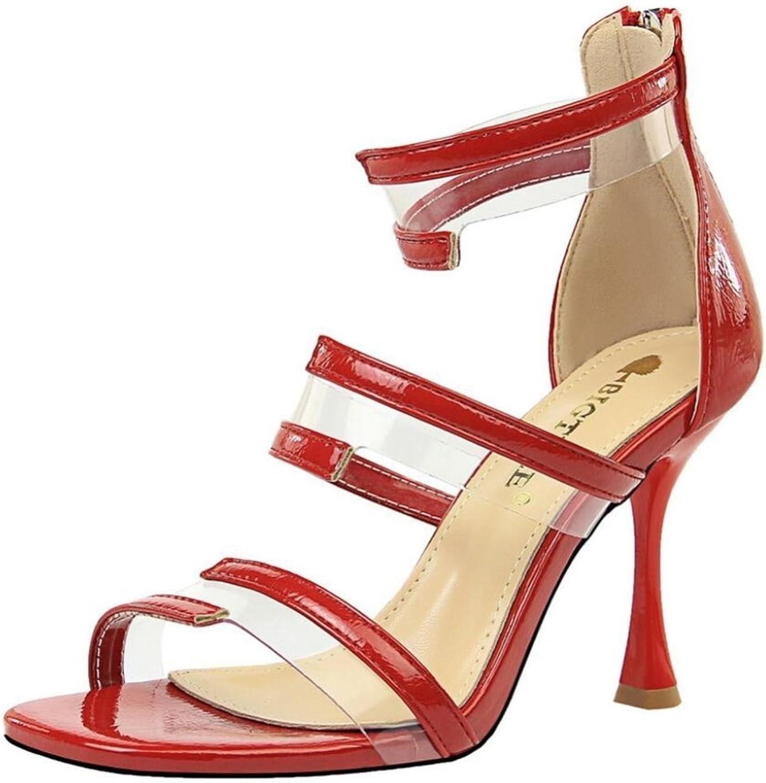 LINYI Women's Fashion High Heel Hollow Transparent Open Toe shoes Sandals