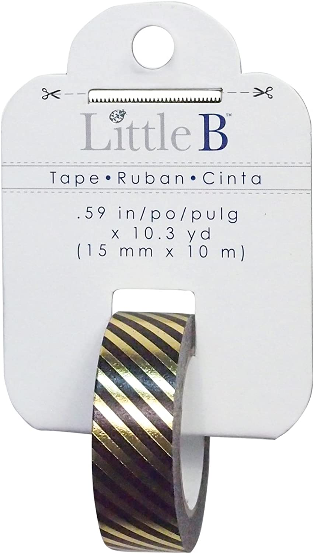 Little B 100774 Decorative Foil Paper Tape, Diagonal schwarz and Gold Foil Stripes B011PJ2J80     | Diversified In Packaging