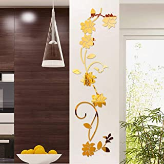Quaanti DIY Flower Mirror Wall Sticker, 3D Removable Acrylic Mirror Decor of Self Adhesive for Art Window Wall Decal Kitchen Home Decoration, Modern Clearance 🔥 (Gold)