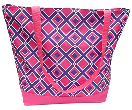 Best Stocking Stuffers Cute Large Pink & Purple Lined Beach Tote Bag Carrier for Ballet Slippers Books Groceries Travel Women Girl