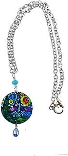 Collana pendente dipinta a mano - LA NOTTE STELLATA DI VAN GOGH - Collana con ciondolo dipinto a mano, Medaglia in legno d...