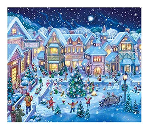 DIY 5D Diamond Painting, Kits for Adults Crystal Rhinestone Embroidery Pictures Arts Craft for Home Decoration Christmas Snowscape of Christmas Tree Town (Size : 40X50CM)