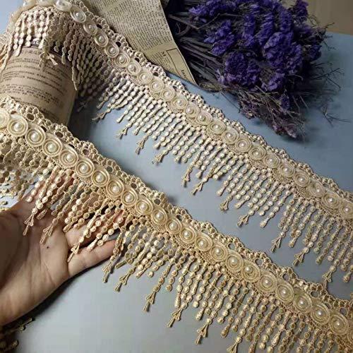 HUIJUNWENTI 1 Yard Goldperlen-Tassel Plum Blumen-Perlen-Spitze-Rand-Spitzen Bänder Wulstige Spitze Stoff gestickter Nähen Brautkleider 8cm