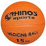 Rhinos Sports - Balón medicinal (800 g, 1 kg, 1,5 kg, 2 kg, 3 kg, 4 kg, 5 kg), color naranja, tamaño 1,5 KG