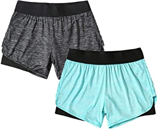 YOGAFEEL Women's Running Yoga Short Pants Workout Athletic Jogging Dolphin Shorts 2-in-1