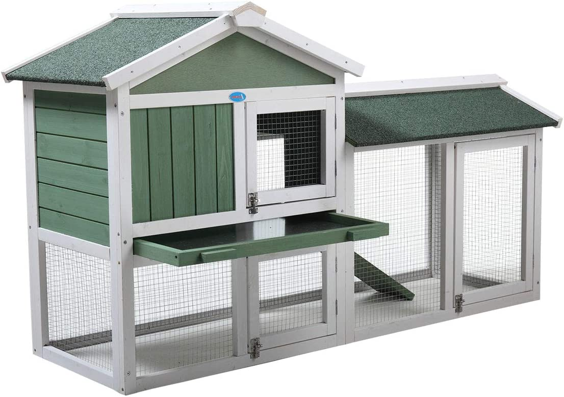 """JAXPETY New 58""""Chicken Coop Wooden Hutch Quality inspection excellence Bunny Ramp,P Rabbit w"""